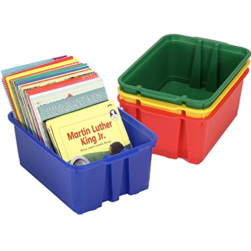 Really Good Stuff 14x10 Stackable Bins - Primary Colors