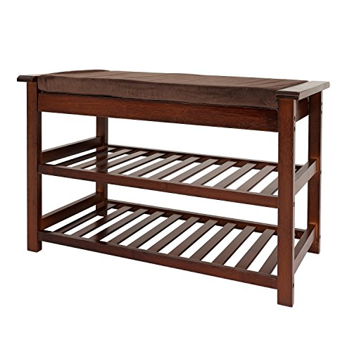 UNICOO - Antique Style Bamboo Shoe Bench Rack with Cushion Upholstered Padded Seat Storage Shelf Bench 2-Tier Shoe Rack Entryway Shoe Storage Organizer Antique Brown -76
