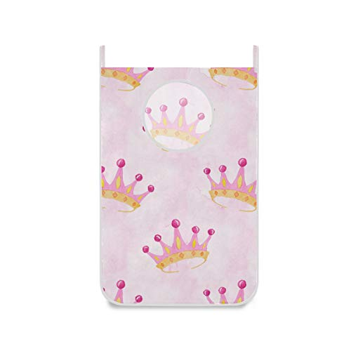 Blueangle Pink Watercolor Crown Hanging Laundry Hamper with Stainless-Steel Hooks - Space Saving Storage Bag
