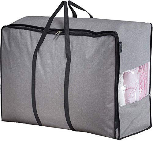 MISSLO Water Resistant Thick Over Size Storage Bag Folding Organizer Bag Under Bed Storage College Carrying Bag for Bedding Comforters Blanket Clothes Grey