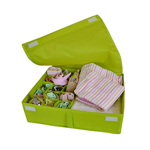 IsHealthy Underwear Drawer Storage Organizer with Cover Oxford Fabric 2 in 1 Washable and Foldable Storage Box Closet Divider for Bras Socks Ties Scarves and Handkerchiefs Green