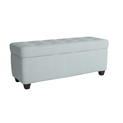 The Sole Secret Button Tufted Ottoman with Shoe Storage Bedroom Bench with Shoe Storage Slots 20H x 50L x 17D Sea Mist Upholstery