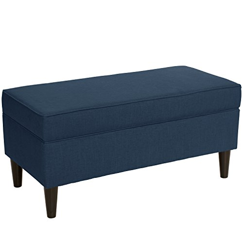 Skyline Furniture Storage Bench in Linen Navy