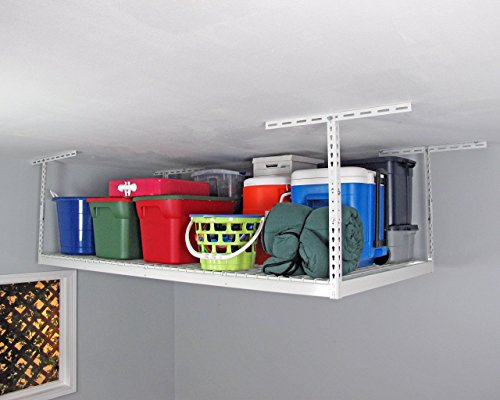 SafeRacks - 4x8 Overhead Storage Rack Heavy Duty 24-45 Ceiling Drop - White