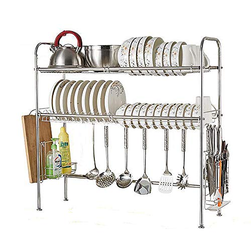 NEX 2-Tier Drying Rack for Kitchen Stainless Steel Dish Dryer Length Adjustable Silver
