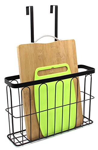 ESYLIFE Over the Cabinet Door Organizer Wall Mounted Cutting Board Holder Black