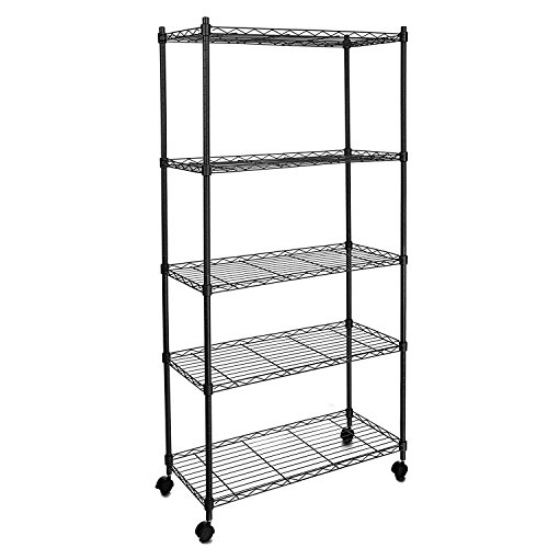 Wakrays Classic 5 Tier Wire Shelving Rack Shelves with Wheels shelving units