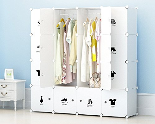Portable Clothes Closet Wardrobe by Tespo-Freestanding Storage Organizer with doors  large space and sturdy construction White-16 cube 16 - Deeper Cube