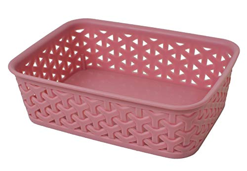 Deluxe Plastic Storage Bin Organizer Basket Containers Set 4pc Set - Small - Pink