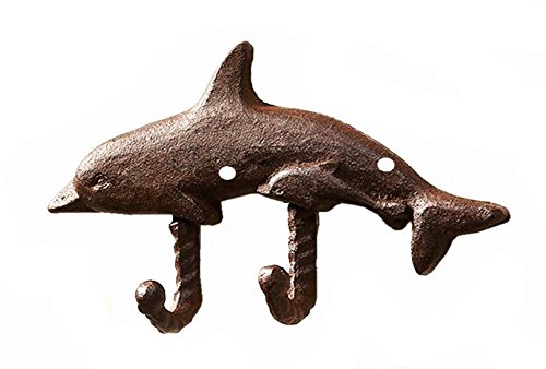 Nautical Cast Iron Dolphin Calf Double Wall Hook - Rust Brown