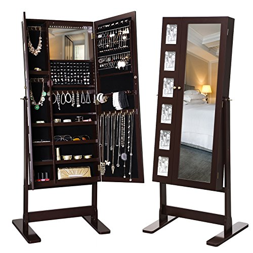 SONGMICS LED Jewelry Cabinet Armoire 2 Doors Standing Storage Organizer with Mirror Picture Frame Brown UJJC92K
