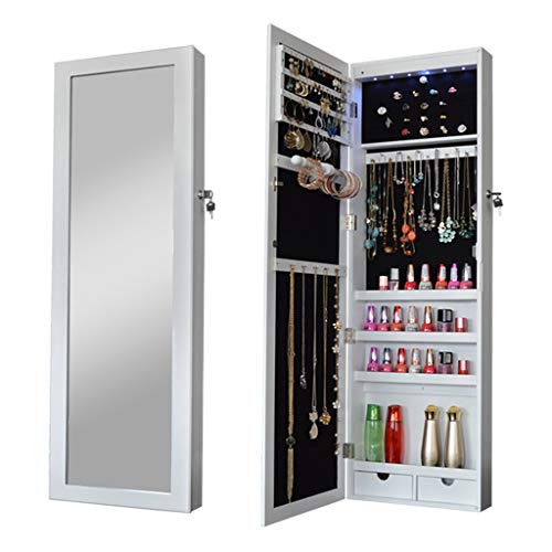 EVEN Full Length Wall Mounted Storage Jewelry Armoire Cabinet Jewelry Organizer with Lock and Key