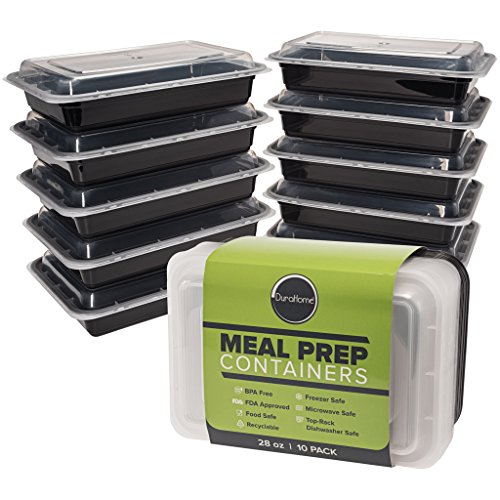 DuraHome - Meal Prep Containers with Lids 28oz BPA-Free 10-Pack Microwaveable Reusable Plastic Food Storage Containers 1 Compartment