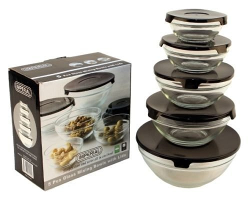 10 Pcs Glass Lunch Bowls Healthy Food Storage Containers Set With Black Lids  The snap tight lids will help keep all your food fresh and secure while they are stackable for easy storage