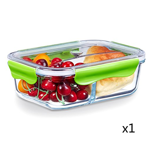 SELEWARE 2-Compartment Glass Food Storage Containers with Tritan Snap Locking Lids BPA-Free Airtight Leak-proof Microwave Oven Freezer Dishwasher Safe533oz Rectangle Green