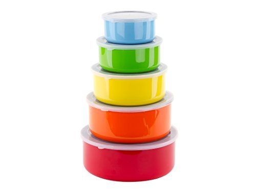 10 Pcs Colorful Stainless Steel Mixing Bowls or Food Storage Containers Set w Lids