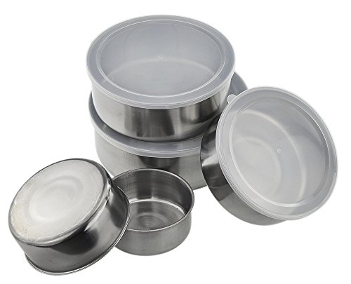 ZKicthome Stainless Steel Food Storage Container Set - 5 Pcs of Mixing Bowls Cookware Set