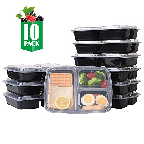 SAMROG 10-Pack 3 Compartment Bento Lunch Boxes with Lids – Reusable Stackable Microwave Dishwasher Freezer Safe BPA Free - Meal Prep Portion Control Food Storage Containers 32oz