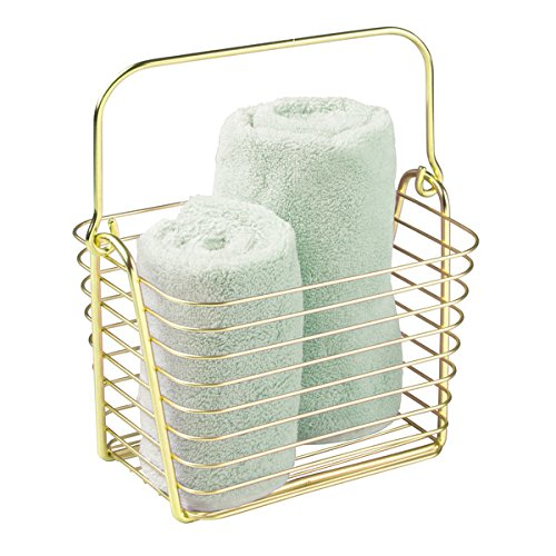 mDesign Wire Storage Organizer Basket for Bathroom Health and Beauty Products Lotion Towels - Small Pearl Brass