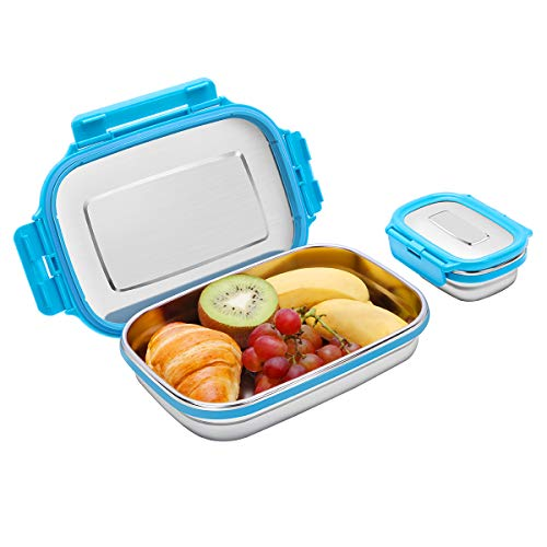 Ga HOMEFAVOR Set of 2 Stainless Steel Bento Lunch Box Food Container Storage for Kids or Adults 2 Packs 180ml950ml Leak Proof Metal Bento Lunch Container For Work or School-Dishwasher Safe Blue
