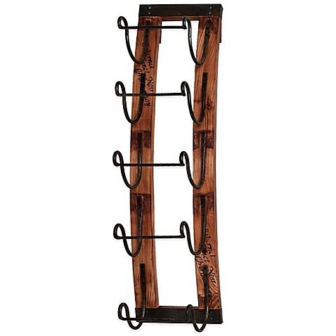 Woodmetal 5-bottle Hanging Wine Rack with Antique Metal Brackets to Hold Your Bottles Great Gift for Those Wine Lover by Wine Inthusiast