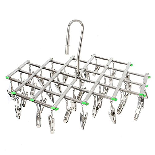 Stainless Steel Hanging Clothes Drying Rack Folding 35 Clips - collapsible Portable Metal Hanger to Hang Dry Clothes Outdoor Indoor Save Space in Closet For Baby Clothes Towels Socks