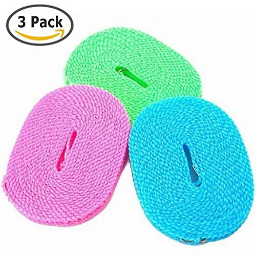 DEWEL Pack of 3 Clotheslines 5M Portable Windproof Clotheslines Nylon Clothes Rope Line for Outdoor Indoor Home Travel Laundry Drying