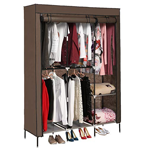 OppsDecor Portable Closet Wardrobe Storage Organizer with Sturdy Cover Clothes Closet with 5 Hanging Rack Easy to Assemble Coffee Brown