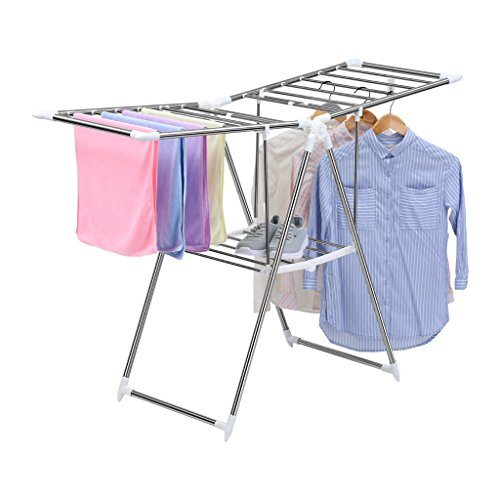 Finether Folding Gullwing Drying Rack Clothes Airer Clothes Horse Cloth Dryer Stand for LaundryTowels Portable Collapsible IndoorOutdoor Metal
