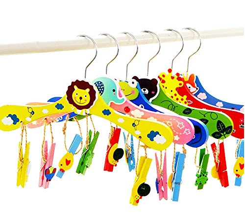 Freedi 6Pcs Baby Clip and Drip Clothes Drying Hanger Rack with 12 Clips Cartoon Plastic Hangers for Kids Pants Clothes Socks Shorts Underwear