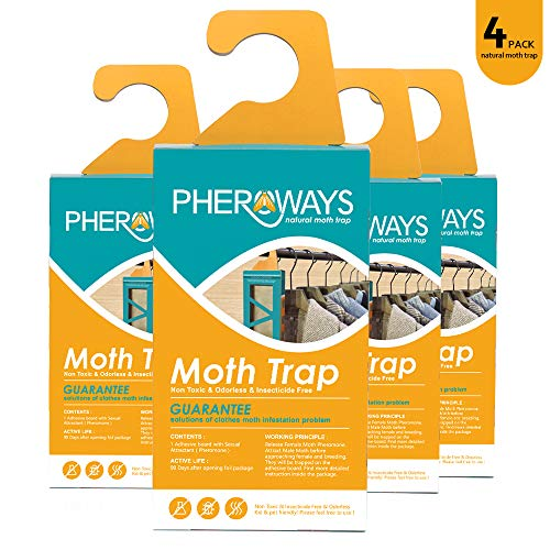 Pheroways Clothes Moth Traps  Safe Moth Traps for Closet Clothing Carpet Moth Traps  Effective Guaranteed 4 Pack