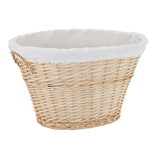 Household Essentials ML-5545 Decorative Wicker Laundry Basket with Handles and Removable Liner  Brown