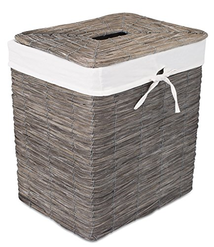 BirdRock Home Rustic Woven Wood Peel Laundry Hamper with Lid  Thin Weave Laundry Basket  Removable Liner  Dirty Clothes Storage Bin  Grey