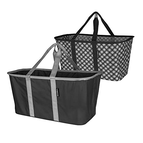 CleverMade Collapsible Fabric Laundry Basket - Foldable Pop Up Storage Container Organizer - Space Saving Hamper with Carry Handles Pack of 2 CharcoalGrey and GreyCharcoal