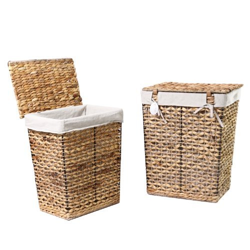 Adeco Multi-Purpose Laundry Basket with Lid Seagrass and Iron Construction Home Decor Set of 2