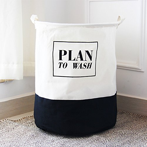 MuLuo Large Waterproof Cloth Folding Clothes Laundry Basket Toy Storage Basket Drain Laundry Basket with A Lid opening&PLAN TOWASH-black