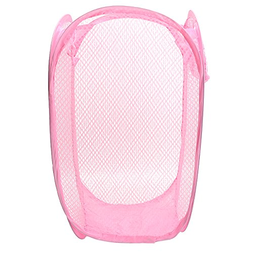 Refaxi Pink Foldable Pop Up Washing Clothes Laundry Basket Bin Hamper Mesh Storage Bag