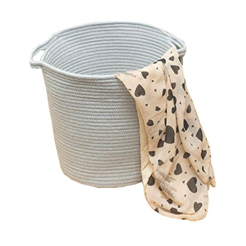 Small Cotton Rope Woven Storage Baskets with Handles Clothes Hamper Toys Nursery Bins Closet Organization