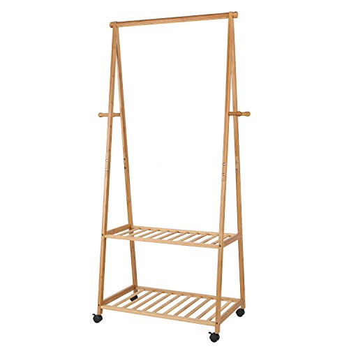 Homfa Bamboo Clothes Rack on Wheels Rolling Garment Rack with 2-Tier Storage Shelves and 4 Coat Hooks for Shoes Clothing