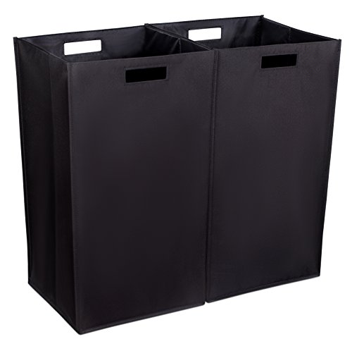 Internets Best Collapsible Laundry Hamper - Set of 2 - Dirty Clothes Sorter with Handles - Magnetic Side - Easy Storage - Folding - Black