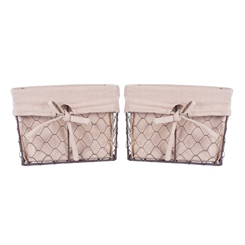 Home Traditions Vintage Metal Chicken Wire Storage Basket with Removable Fabric Liner Set of 2 Medium Sized Natural