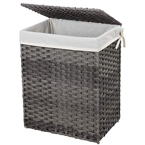 SONGMICS Handwoven Laundry Basket 90L Synthetic Rattan Wicker Clothes Hamper with Lid and Handles Foldable Removable Liner Bag Stable Iron Frame Gray