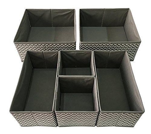 Sodynee Foldable Cloth Storage Box Closet Dresser Drawer Organizer Cube Basket Bins Containers Divider with Drawers for Underwear Bras Socks Ties Scarves 6 Pack Stripe