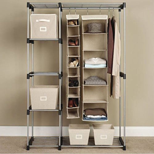 Portable Closet Organizer Clothes Hanger Silver Generic C Double Rod Freestanding Storage Rack Steel Home Garment Shelf G68