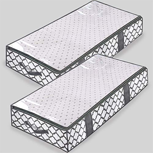homyfort Under Bed Storage BagsFoldable Storage Bins Drawers for BlanketClothesComforterTidy Up Your ClosetShelveswith Clear WindowDual Zippers4 Strong Handles Set of 2 White Grey