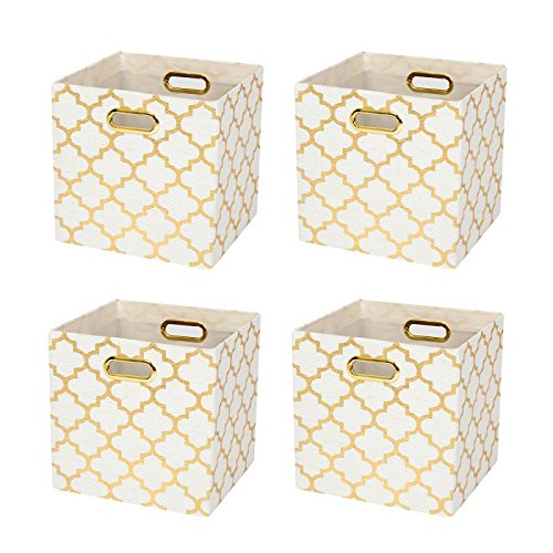 Posprica Collapsible Storage Cubes Bin Boxes Containers Drawers Organizer Baskets with Metal Handles for ToyClothesLaundry 4 White lantern print