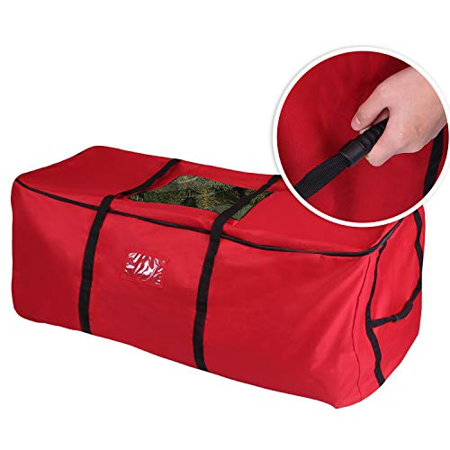 PENSON CO Christmas Tree Storage Bag Heavy Duty Canvas Storage Container Large for 9ft Artificial Tree-Red