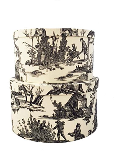 Morcheaux Chosis French Made Black Toile Fabric Covered Hatboxes Set2ox