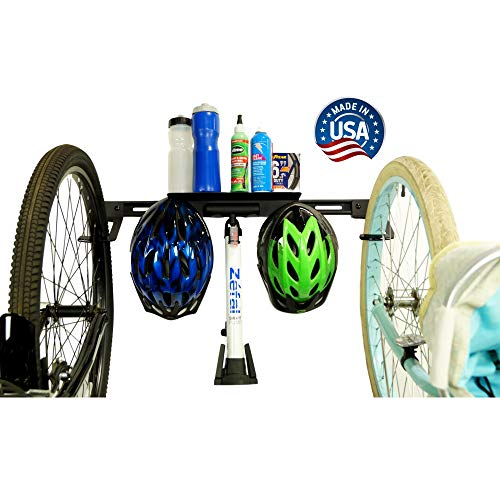 Koova 2-Bike Wall-Mount Storage Rack - Garage Hanger for Big-Tire Cruisers or Mountain Bikes - Easy to Install Features Attached Shelf and Storage Hooks - Powder Coated Steel Made in USA