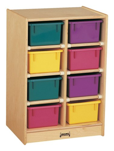 Jonti-Craft 8 Tray Kids Children Toy Storage Organizer Cubbie Mobile Storage Unit With Colored Trays